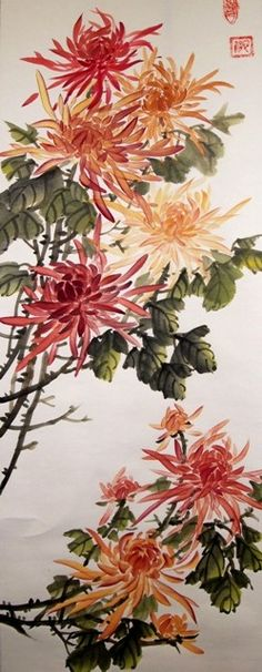 Chrysantheum in Chinese brush painting style Japan Painting, Ink Painting, Watercolor Flowers Tutorial, Watercolour, Asian Artwork, Oriental Flowers, Art Asiatique, Bonsai Art, China Art