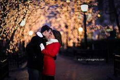 Nighttime engagement pictures! This would be so cool at temple square during Christmas season!