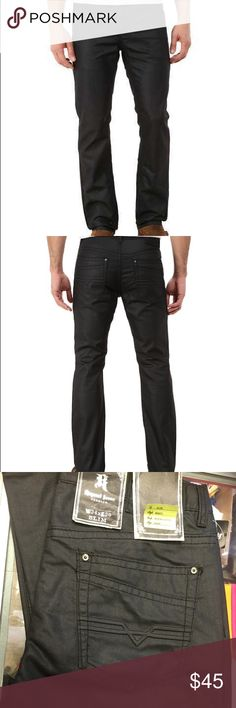 ⚡️PRICE DROP THiS WEEK ONLY⚡️Black Coated Jeans straight slim Black Coated is a sleek, coated black wash with tonal stitching. Belt loop waistband. Zip fly with button closure. Classic five-pocket design. Brand patch at rear waist. Subtle stitching detail accents the rear pockets. 75% cotton, 25% polyester. Machine wash cold, tumble dry low. Imported. Measurements: Waist Measurement: 32 in Front Rise: 10 in  Back Rise: 14 in Leg Opening  Retail $75  Available size 32 34 36 Request Jeans…