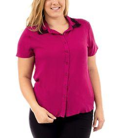 Magenta Lace-Collar Short-Sleeve Button-Up - Plus #zulily #zulilyfinds