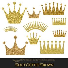Gold Glitter Crowns Clip Art  Instant Download  CA027