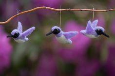 Hummingbirds needle felted wool handmade by WildThingsMaine
