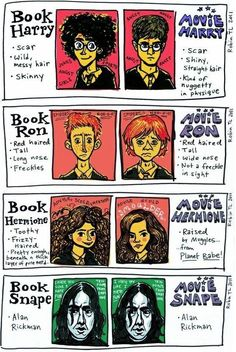 Harry Potter in the books vs. Harry Potter in the movies, from artist Robin Tatlow-Lord