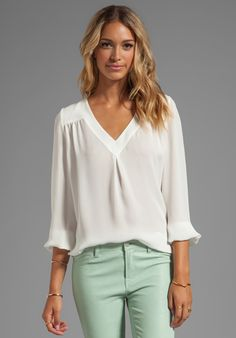 b42fdb701c908 JOIE Matte Silk Frenchie B Blouse in Porcelain Camisa Blusas