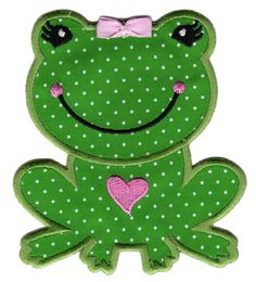 FREE U.S. SHIPPING Girl Frog Iron-On Applique Patch - Kids / Baby