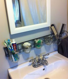 Mason Jar Bathroom Organizer…. Mason Jar Bathroom Organizer. http://www.homedesigns.pro/2017/06/10/mason-jar-bathroom-organizer/