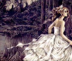 Amazing art by Victoria Frances. Fleeing princess in beautiful white gown. Boris Vallejo, Mythological Creatures, Mythical Creatures, Forest Creatures, France Wallpaper, Dark Wallpaper, Vampires, Vampire Bride, Vampire Girls