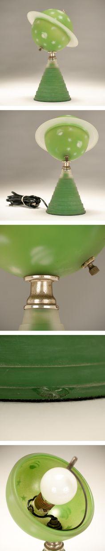 Green Satin Glass Astral Saturn Lamp 1939 World S Fair Cool Lighting Lamp Glass