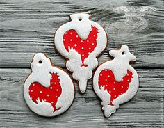 Купить Пряники игрушки на ёлку с петухом - ярко-красный, год петуха, новогодние пряники, пряник петух