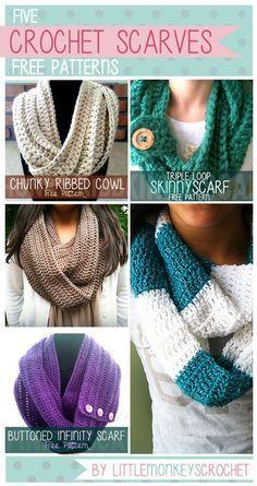 Click for 5 FREE Crochet Scarf & Cowl Patterns!   Little Monkeys Crochet   www.littlemonkeyscrochet.com