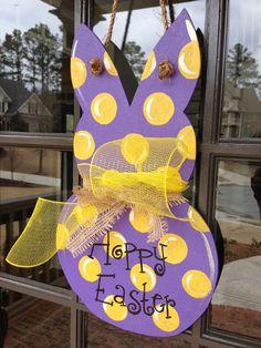 Easter Bunny Door Hanger by KnockinOnWood on Etsy, $25.00