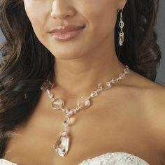 Silver Swarovski Crystal Jewelry Set NE 8317