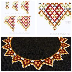 Colar Diy Necklace Patterns, Beaded Jewelry Patterns, Beading Patterns Free, Beading Tutorials, Bead Loom Bracelets, Beaded Collar, Seed Bead Jewelry, Beads And Wire, Loom Beading