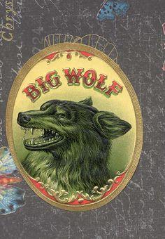 big wolf cigar label, 1920s