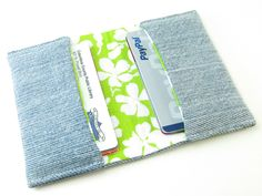 Spring Upcycled Jeans Card Holder Wallet - Free Shipping. $15.00, via Etsy.