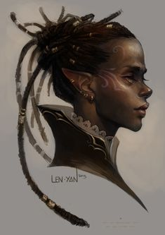 golden eyed elf by len-yan. a welcome departure from the millions and millions of pale, diaphanous elves. —r.