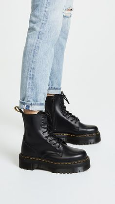 Martens Jadon 8 Eye Boots - Best Long boots outfit - Ways to Wear Boots The Definitive Guide Doc Martens Outfit, Outfits With Doc Martens, Dr Martens Jadon, Dr. Martens, Dr Martens Boots, Doc Martens Black, Dr Martens Style, Doc Martens Women, Dr Martens Sandals