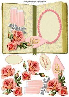Champagne Roses Book Card on Craftsuprint designed by Diane Hannah - Champagne Roses Book Card is a fabulous card with dimensional elements. Suitable for a wedding, anniversary, or just to say I love you. Great for a wedding proposal and even a Valentines Day card. The sheet has decoupage and text tags included. - Now available for download!