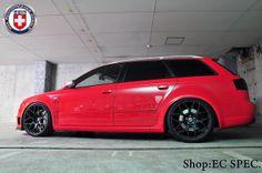 AUDI B7 RS4 Red HRE P40S Satin Black