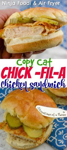 Ninja Foodi And Air Fryer Chick Fil A Copycat Chicken Sandwich - Sous Vide Instant Pot - Chicken Recipes Ninja Recipes, Oven Recipes, Grilling Recipes, Cooking Recipes, Copycat Recipes, Healthy Recipes, Cooking Food, Crockpot Recipes, Ninjas