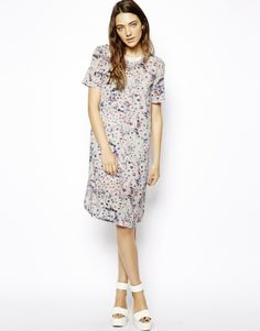 ASOS | ASOS T-Shirt Dress In Wash Floral Print at ASOS