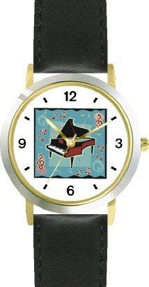 Grand Piano Musical Instrument 2 - Music Theme - WATCHBUDDY® DELUXE TWO-TONE THEME WATCH - Arabic Numbers - Black Leather Strap-Size-Children's Size-Small ( Boy's Size & Girl's Size ) WatchBuddy. $49.95. Save 38% Off!