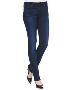 Low-Rise Skinny Jeans, Pristine Blue Black by 7 For All Mankind at Bergdorf Goodman.