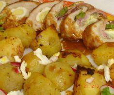 Gombás rakott hús őzgerincben Recept képpel - Mindmegette.hu - Receptek Bacon, Potatoes, Vegetables, Food, Potato, Essen, Vegetable Recipes, Meals, Yemek
