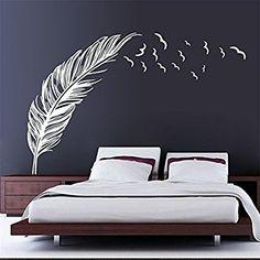 Pegatina de pared vinilo adhesivo mural decorativo para cuartos, salon,cuarto de juegos,dormitorio,cocina,sala de estar ... Pluma y pajaros Color Blanco de OPEN BUY