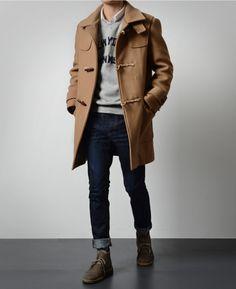 trifecta - toggle coat, jeans, desert boots