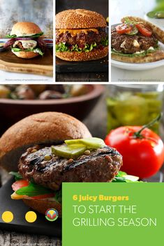 6 Juicy Burgers to Start the Grilling Season. Start the BBQ! No Dairy Recipes, Fruit Recipes, Egg Recipes, Potato Recipes, Pork Recipes, Barley Recipes, Bison Recipes, Mushroom Recipes, Lentil Burgers