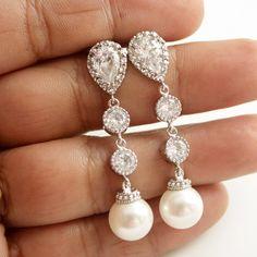 Pearl Drop Bridal Earrings Wedding Pearl Jewelry by poetryjewelry