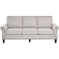 Clyde Park Oslo Linen Nailhead Trim Sofa ❤ liked on Polyvore featuring home, furniture, sofas, nailhead trim couch, nailhead trim furniture, nailhead couch, nailhead furniture and linen furniture
