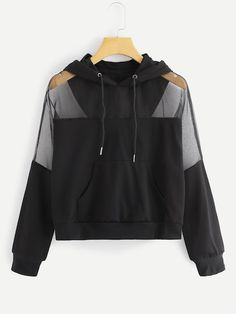SheIn offers Sheer Mesh Panel Solid Hoodie & more to fit your fashionable needs. Teen Fashion Outfits, Trendy Outfits, Cool Outfits, Hooded Sweatshirts, Hoodies, Teenager Outfits, Mode Style, Men's Style, Ladies Dress Design