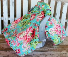 aqua and pink flowers with brown cotton canopy by SqueakyBugBabies Canopy Cover, Making Out, Pink Flowers, Baby Car Seats, Aqua, Brown, Cotton, Design, Water