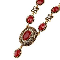 Red Crystal Antique Gold Bohemian Art Deco Vintage Style Pendant Necklace | eBay