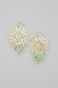 Gold & Mint Bead Filigree Earrings