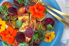 A delicious summer salad with generous chunks of cheesy goodness, beetroot and lashings of Mandarin & Ginger vinaigrette. Haloumi Cheese, Haloumi Salad, Beet Salad, Beetroot Burgers, Beet Burger, Easy Salads, Summer Salads, Cooking Avocado