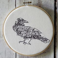 "Hoop Art -  Wordy Bird - The Raven - Edgar Allan Poe  - Machine Embroidered Wall Hanging - Size 8"" - Embroidery Hoop Art"