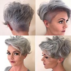 """Jen Caesar (@jcx28): """"I'd be nothing without my hairdresser and @redken ♀️"""" #greyhair #silverhair #hairstyles #haircuts #shavedsides #olaplextreatment #redkenlove #pixie #greyhairdontcare #freshhair #lorealprofessionnel #shorthairdontcare"""