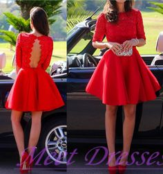 2015 Gorgeous Backless Little Red Homecoming Dress With Half Sleeves Lace Short Prom Dresses Cocktail Gowns For Teens - Thumbnail 1