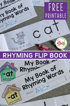 This printable rhyming book will help kids understand the concept of rhyme. Kids see that the end of each word remains the same as they flip the pages. This free printable is perfect for your early literacy centers in preschool, pre-k or kindergarten or at home.  The emergent reader is perfect for independent or small group activities.  Better than worksheets, the flip book is fun and interactive.  phonological awareness and phonemic awareness four young children. Preschool Activities At Home, Word Family Activities, Rhyming Activities, Phonics Games, Kindergarten Learning, Language Activities, Literacy Activities, Early Learning, Fun Learning