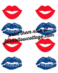 Patriotic lips: free photo booth party fun printables foxhollowcottage.com