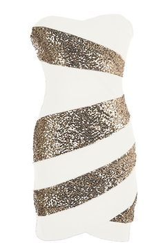 Holiday Swirl Dress: Features a super feminine sweetheart neckline, matte white foundation with glittering gold swirls to the front, solid backside with centered rear zip closure, and a beckoning body-conscious silhouette to finish.