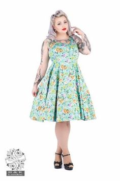 Hearts & Roses Turquoise Ella Floral Swing Dress