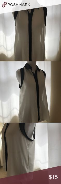 Sheer & Chic Women's Top This is a sheer black and white collared blouse. EUC. No stains or Rips in item. Photos detail items current condition. Aeropostale Tops Button Down Shirts