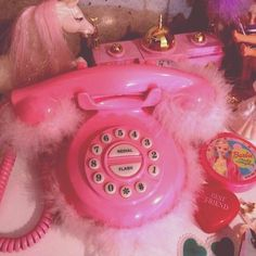 Fluffy pink telephone