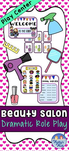 This cute Beauty Salon Dramatic Role Play Center was a hit with my class this year! It's a hairdressers and nail salon in one! It includes everything you need to set up a bright and colorful pretend play area in your classroom. Children can design their own hairstyles and nails, make appointments and more! If you are teaching children about length/size in Math, then this is a great way to get them using this language. #dramaticplay #centers #beauty #salon #pretendplay #tpt #hollyshub… Role Play, Pretend Play, High School Drawing, Kindergarten Age, Hairdressers, Play Centre, Cute Beauty, Classroom Inspiration, Dramatic Play