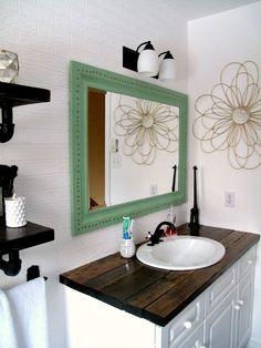Rustic wood vanity: DIY Wood Counter Top, bathroom, makeover budget farmhouse rustic