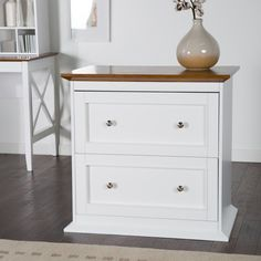 Belham Living Hampton 2-Drawer Lateral Wood File Cabinet - White/Oak